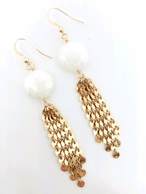 Rose Gold Disc Tassel and White Moonstone Earrings