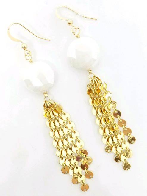 Gold Disc Tassel with White Moonstone Earrings