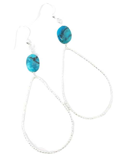 Silver Teardrop and Turquoise Earrings