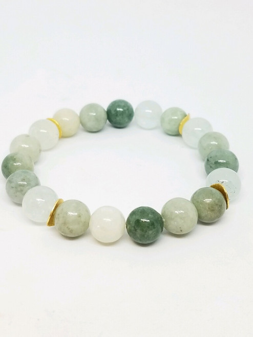 Jade with Moonstone Stretch Bracelet