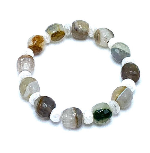 Phantom Agate with Moonstone Stretch Bracelet