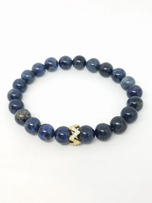 Denim Blue Jean Jasper and CZ Stretch Bracelet