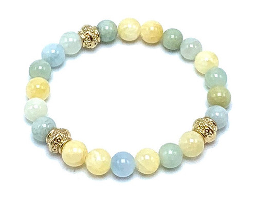 Aquamarine and Yellow Calcite and Gold Stretch Bracelet