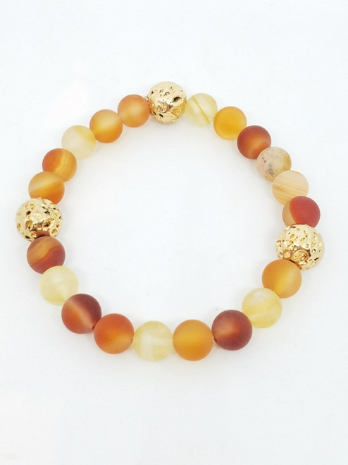 Carnelian and Citrine and Gold Stretch Bracelet
