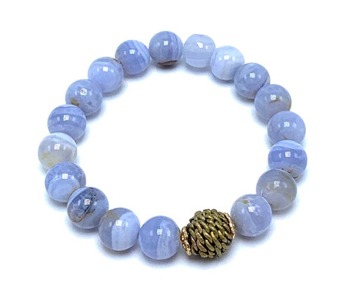Blue Lace Agate and African Bead Stretch Bracelet