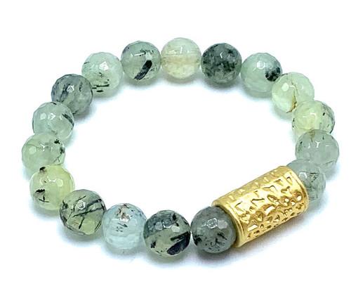 Prienite and Matte Gold Stretch Bracelet