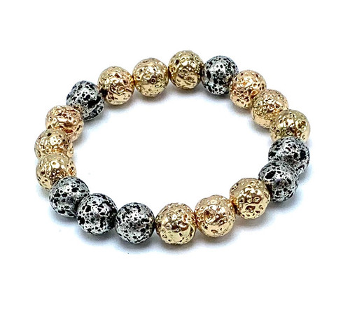 Mixed Metal Colored Lava Rocks Stretch Bracelet