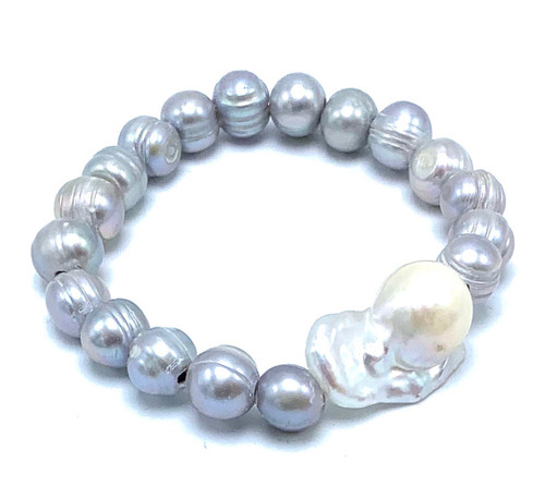 Grey Freshwater Pearl and White Baroque Pearl