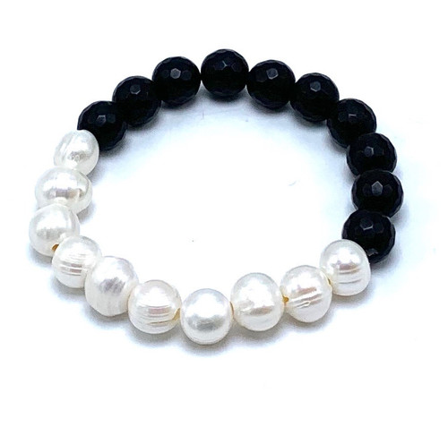 Black Onyx and White Freshwater Pearls