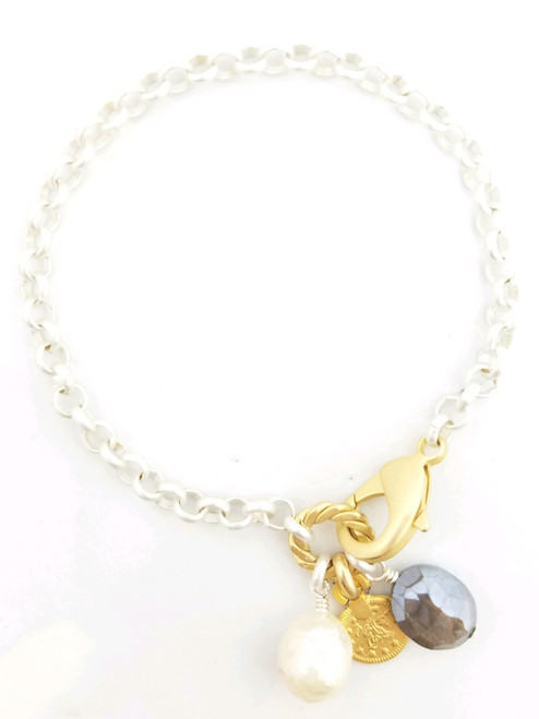 Silver Chain Bracelet with Freshwater Pearl, Labradorite and Gold Coin