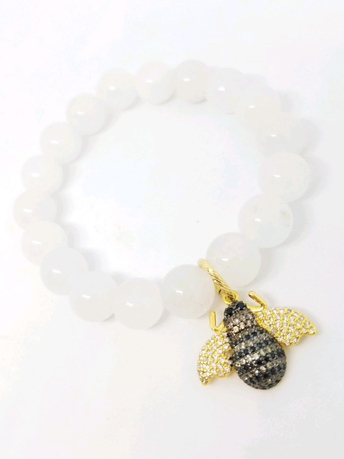 White Jade with CZ Bee