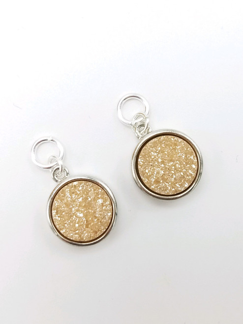 Silver and Peach Druzy Charms