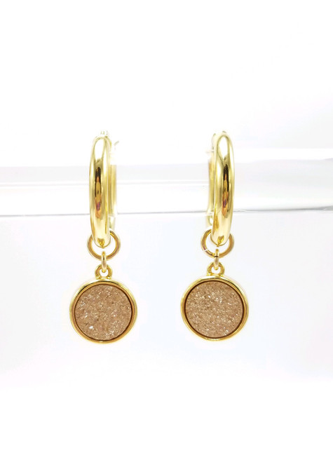 Gold Encased Peach Druzy Charms