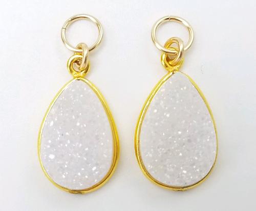 Gold Encased White Teardrop Druzy Charms