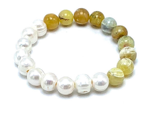 White Freshwater Pearl and Yellow Opal Stretch BraceletWhitewhite