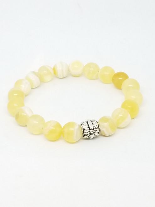 Citrine and Silver Bead Stretch Bracelet