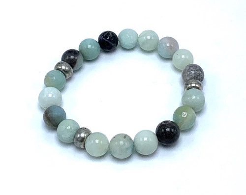 Amazonite and Silver Stretch Bracelet