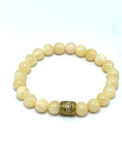 Yellow Calcite with Gold CZ Ball Stretch Bracelet