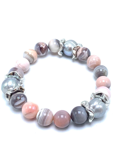 Pink Botswana and Freshwater Pearl Stretch Bracelet