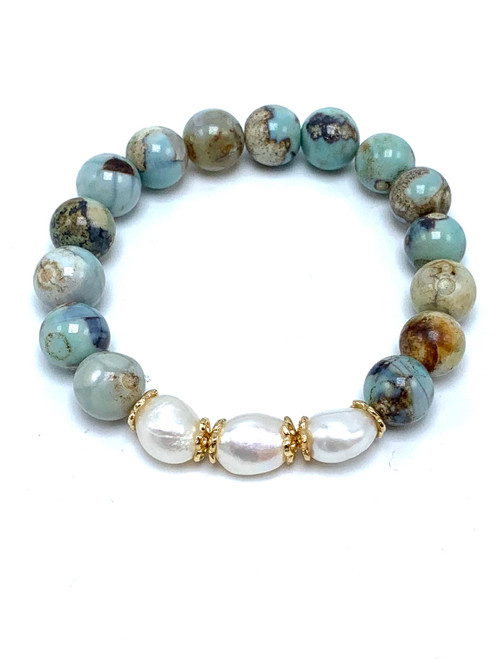 Porcelain Agate and White Freshwater Pearls Stretch Bracelet