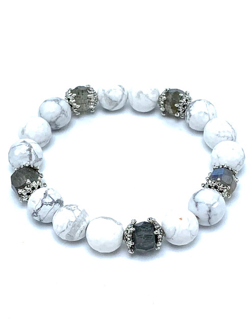 Howlite and Labradorite Stretch Bracelet