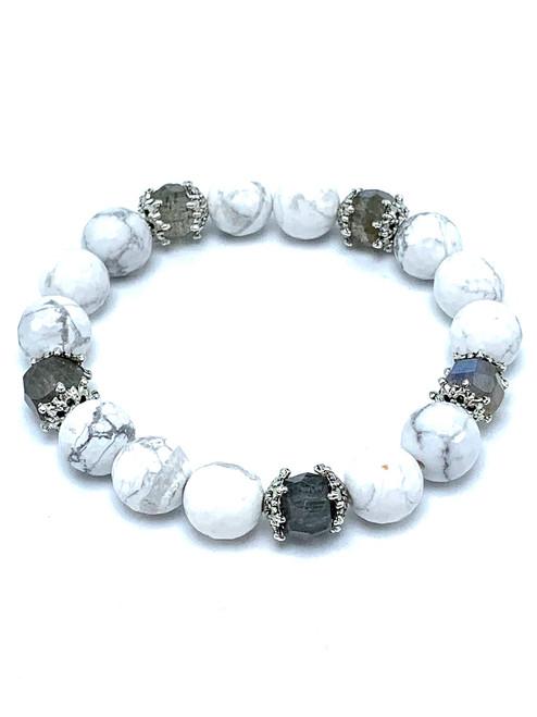 Howlite and Labradorite Stretch Bracelet