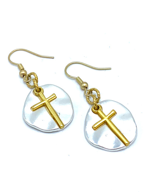 Matte Silver and Gold Cross Earrings