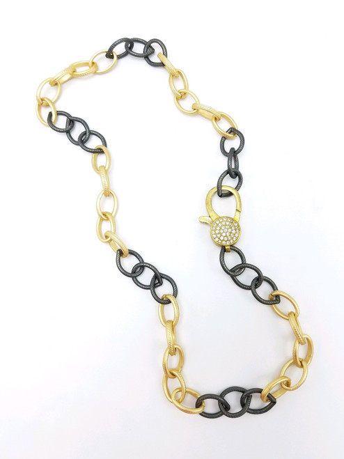 Gold and Gunmetal Chain with CZ Lobster