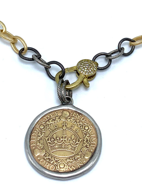 Gold and Gunmetal Chain with CZ Lobster with English Coin