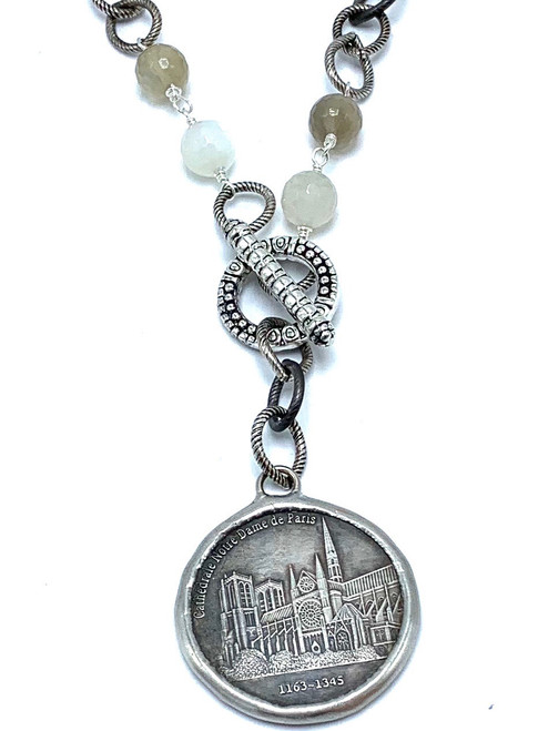 Silver and Gunmetal with White and Gray and Notre Dame French Coin Necklace