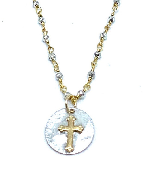 Silver Pyrite and Gold Cross Necklace