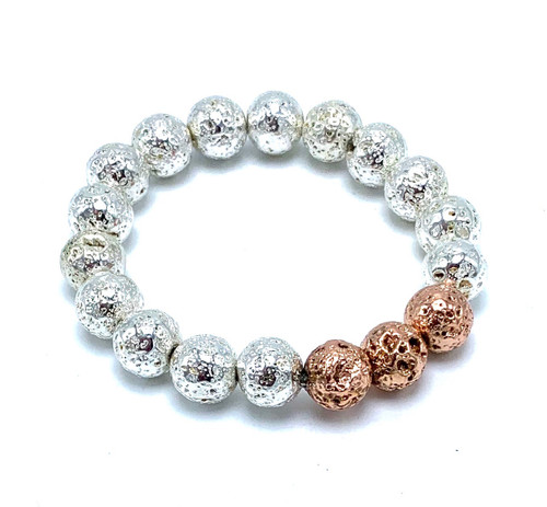 Silver and Rose Gold Lava Beads Stretch Bracelet