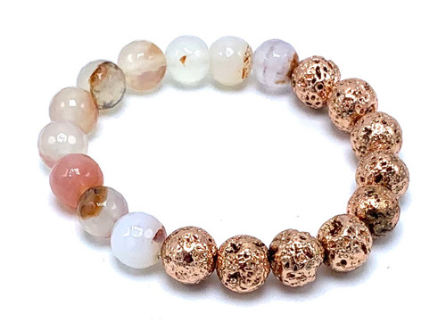 Red Montana Agate and Rose Gold Lava Beads Stretch Bracelet