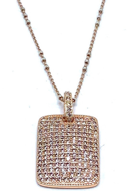 Short Rose Gold and Silver Chain with CZ Pendant Necklace