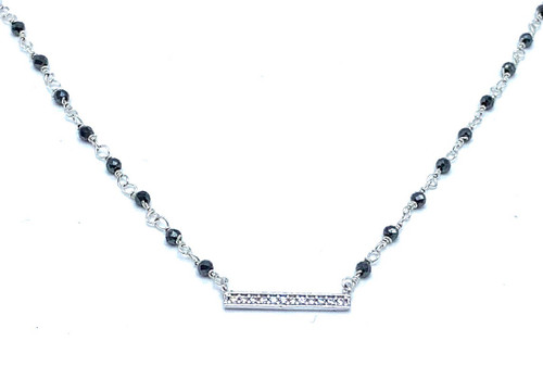 Short Silver and Pyrite Necklace with CZ Bar