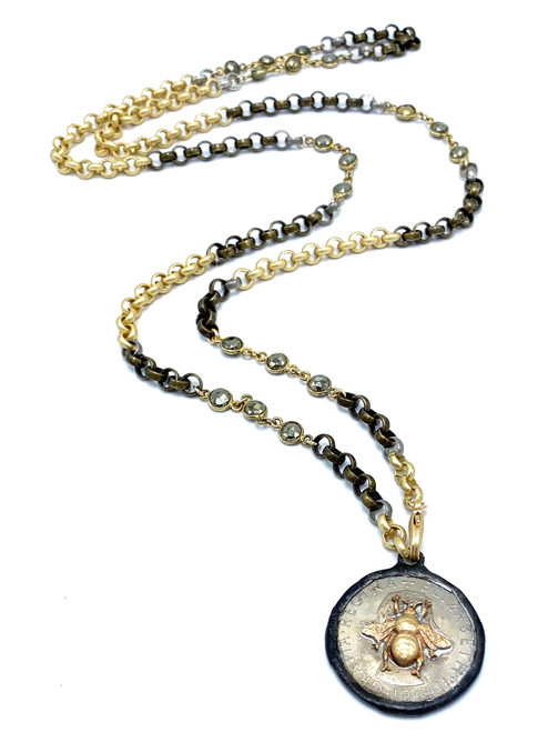 Long Gold, Pyrite  and Brass  Necklace with Bee Coin