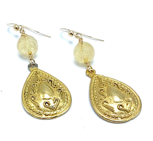 Citrine and Matte Gold Teardrop Earrings