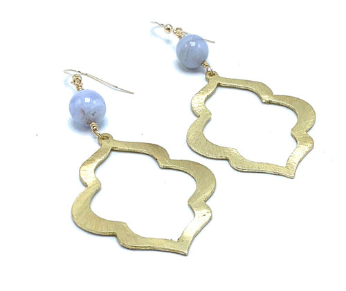 Blue Lace Agate and Gold Moroccan Earring