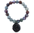 Labradorite and Red Lighting Agate  with Bronze Fleur-de-lis Charm Stretch Bracelet
