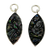 Black Druzy Encased in Silver Charms
