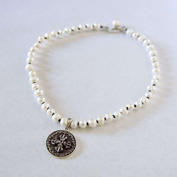 Freshwater Pearl and Sterling Disc Necklace