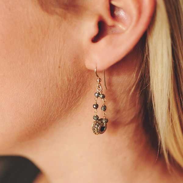 Pyrite and Gold Earrings