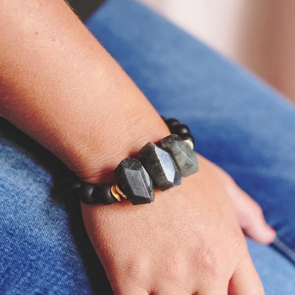 Matte Black Onyx and Labradorite Stretch Bracelet