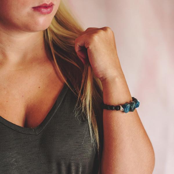 Matte Black Onyx and Apatite Stretch Bracelet