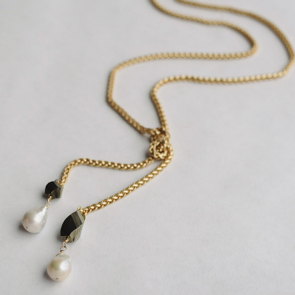 Baroque Pearl and Pyrite Interchangeable Gold Pendant