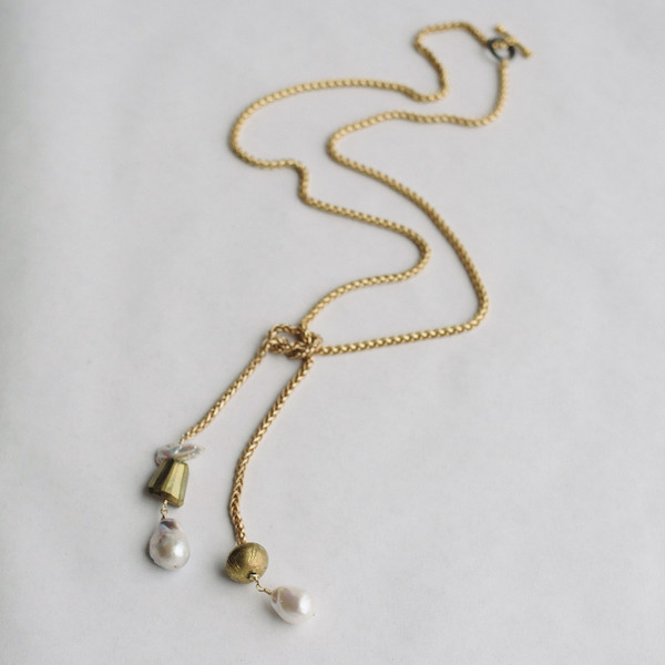 Pyrite and Pearl Interchangeable Gold Pendant