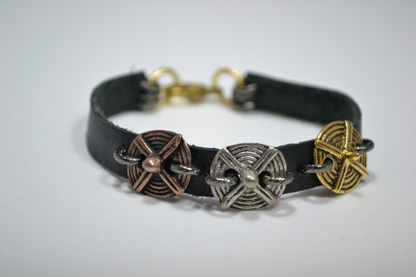Black Leather Bracelet with Tribal Buttons