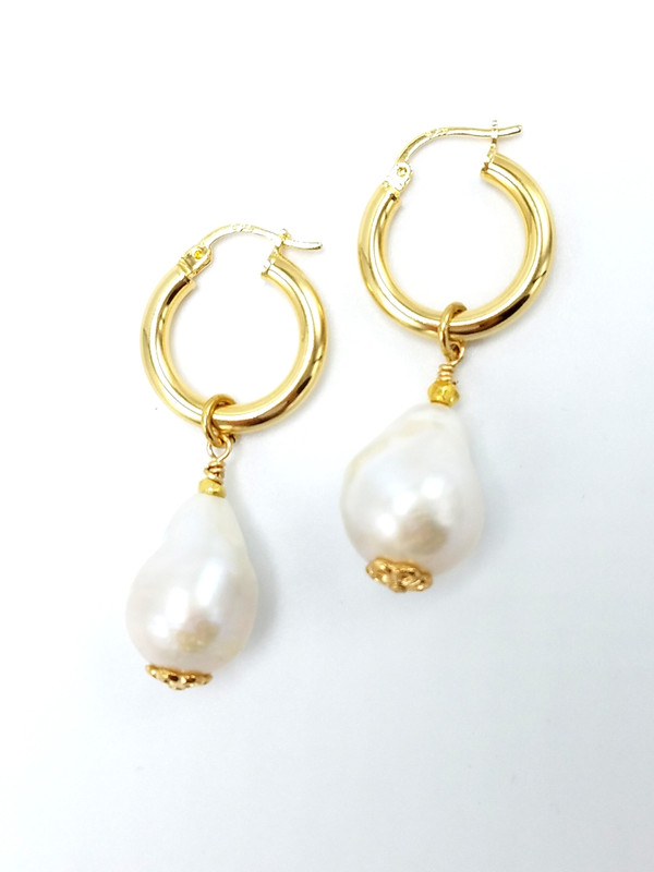 Gold Hoop Baroque Pearl Charms