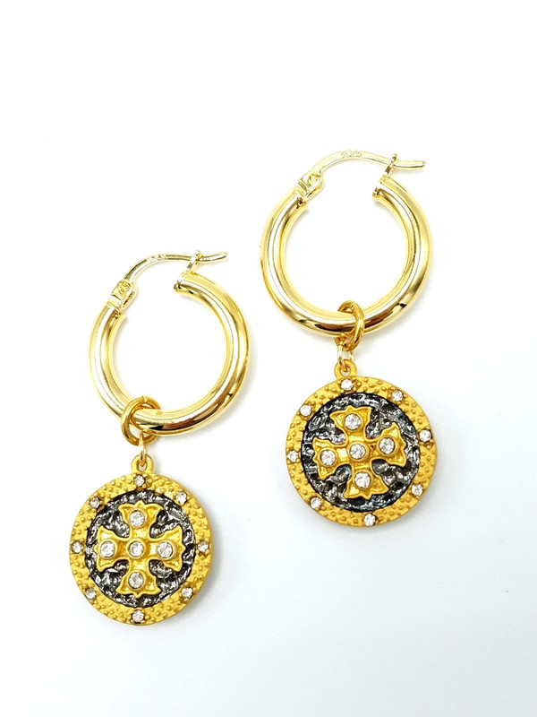 Gold Hoop CZ Gold and Gunmetal Charms