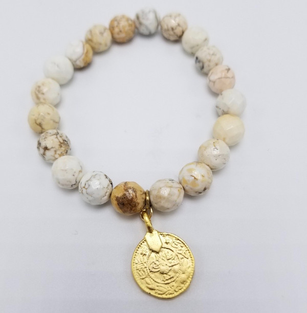 African Opal  with Matte Gold Coin Stretch Bracelets